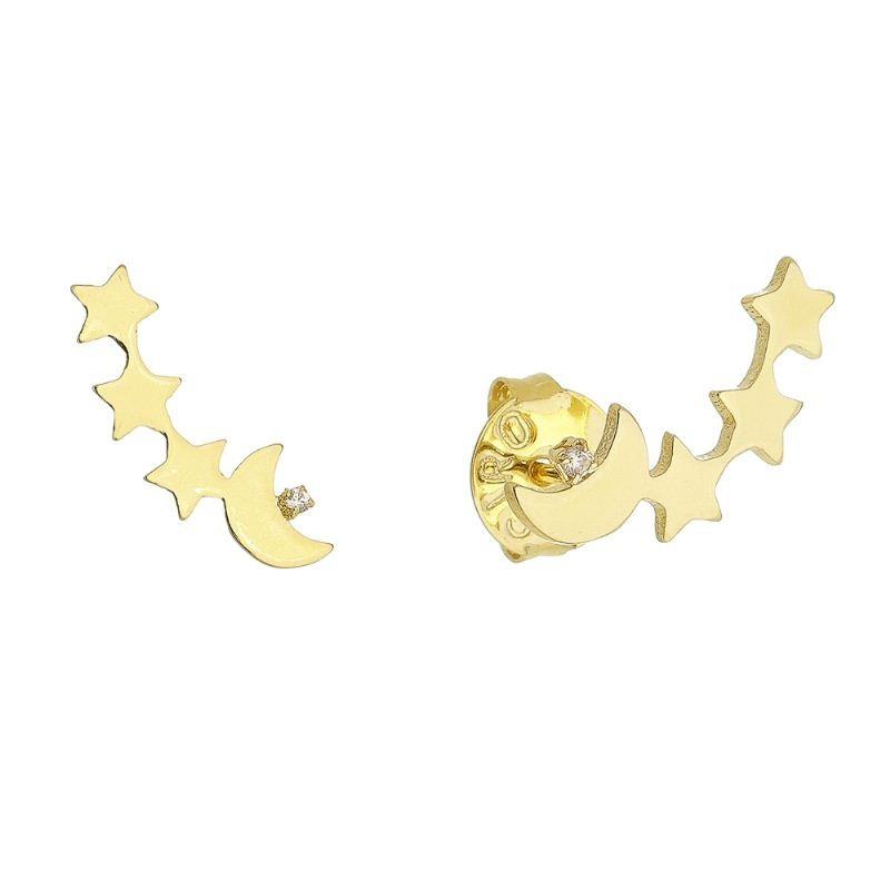 Brinco Ear Cuff com Lua e Estrela com Zircônia Folheado em Ouro 18k - Giro Semijoias