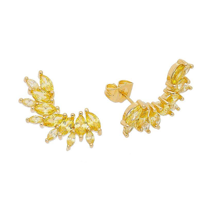 Brinco Ear Cuff com Navetes Amarelo Folheado em Ouro 18k