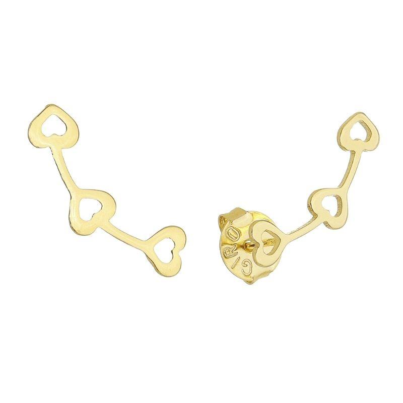 Brinco Ear Cuff Corações Vazados Folheado em Ouro 18k - Giro Semijoias