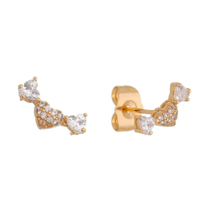 Brinco Ear Cuff Corações Zircônia Ouro 18k - Giro Semijoias