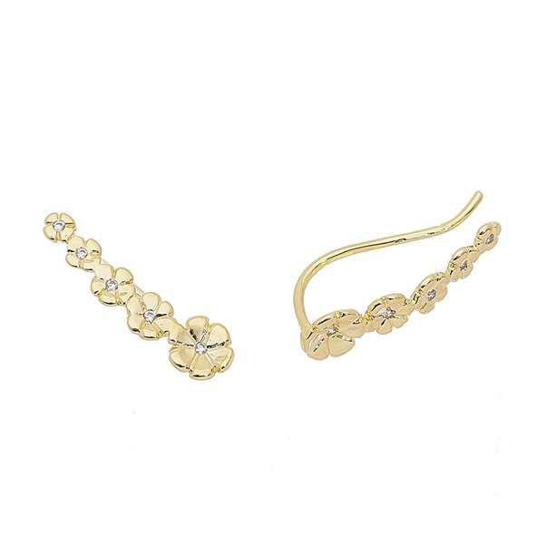 Brinco Ear Cuff de Flor C/ Miolo de Zircônia Ouro 18k- Giro Semijoias