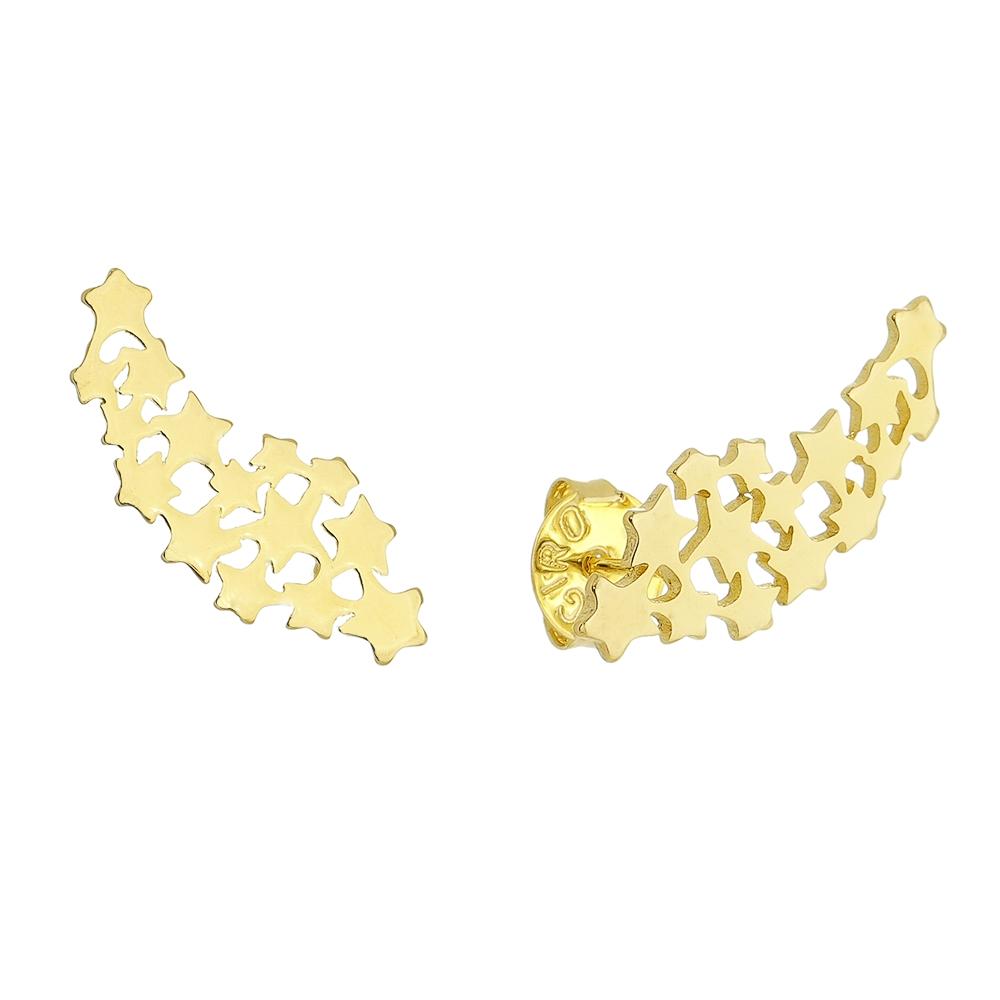 Brinco Ear Cuff Estrelas com Zircônia Folheado em Ouro 18k