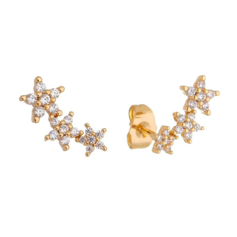 Brinco Ear Cuff Flores com Zircônia Ouro 18k