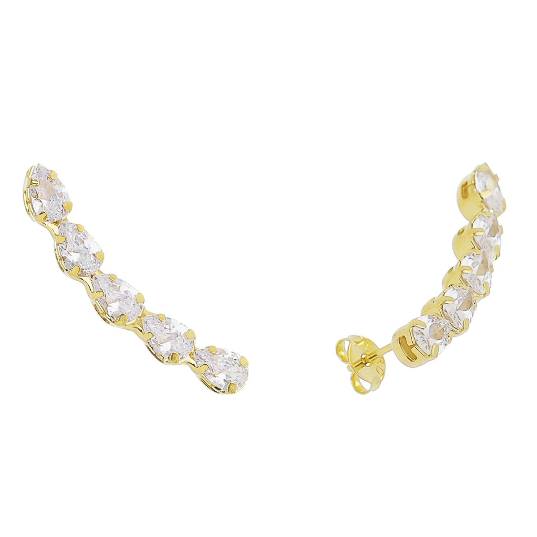 Brinco Ear Cuff Gota Incolor Cristal Ouro 18k- Giro Semijoias