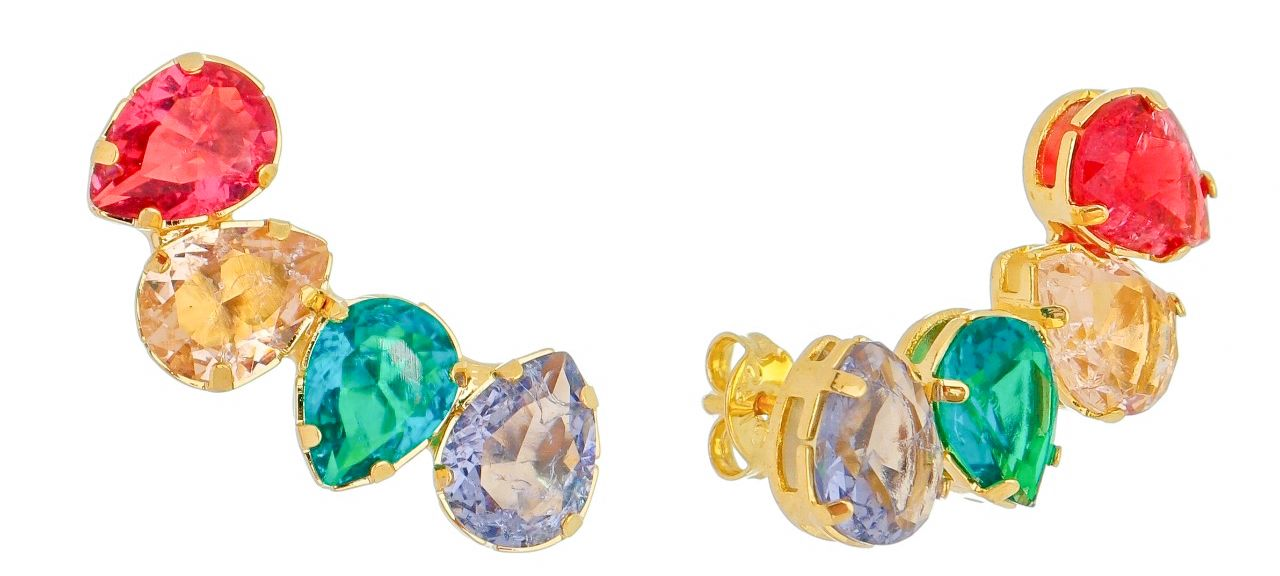 Brinco Ear Cuff Gotas Coloridas Ouro 18k