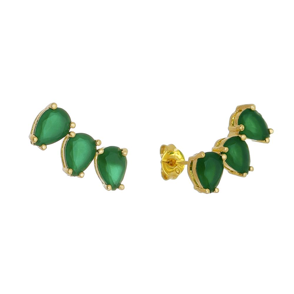 Brinco Ear Cuff Gotas em  Cristal Verde Folheado em Ouro 18k