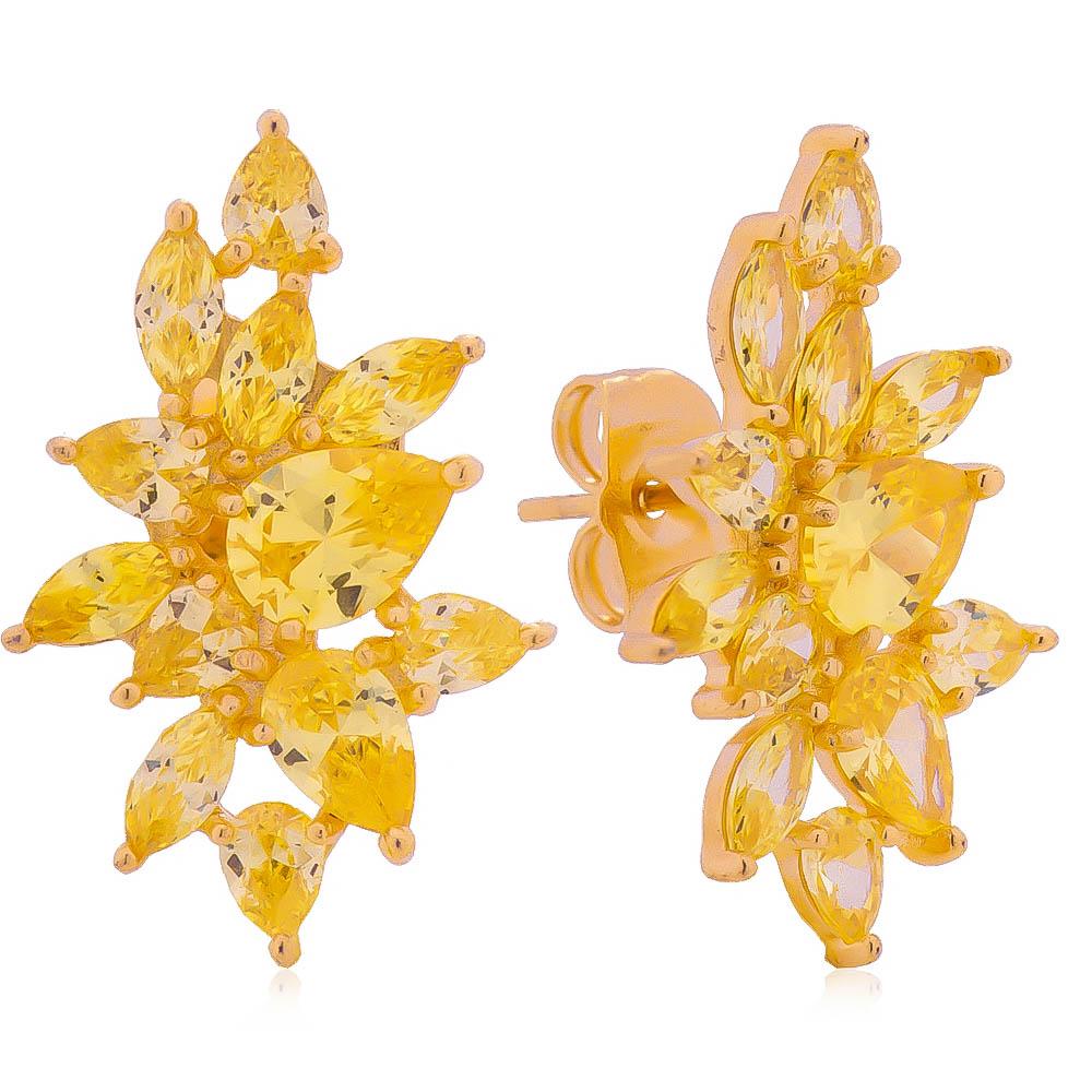Brinco Ear Cuff Gotas Navete Amarelo Folheado em Ouro 18k