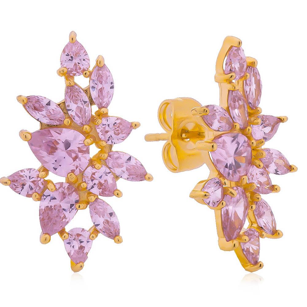 Brinco Ear Cuff Gotas Navete Rosa Folheado em Ouro 18k