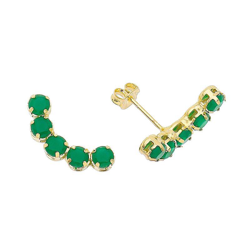 Brinco Ear Cuff Zircônia Verde Ouro 18k