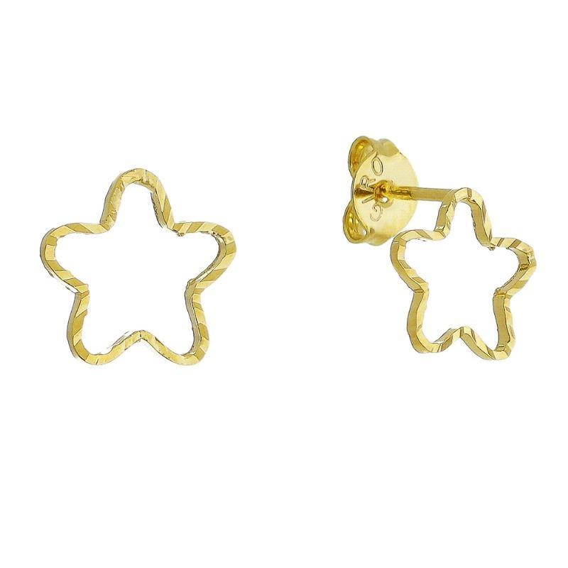 Brinco Estrela com Textura Vazado M Folheado em Ouro 18k - Giro Semijoias