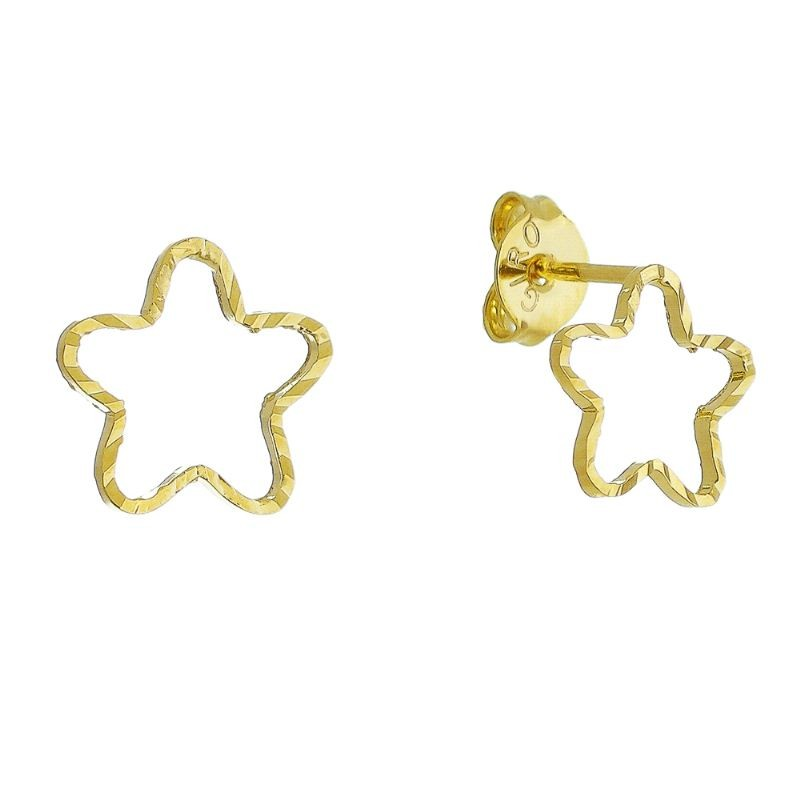 Brinco Estrela com Textura Vazado P Folheado em Ouro 18k - Giro Semijoias
