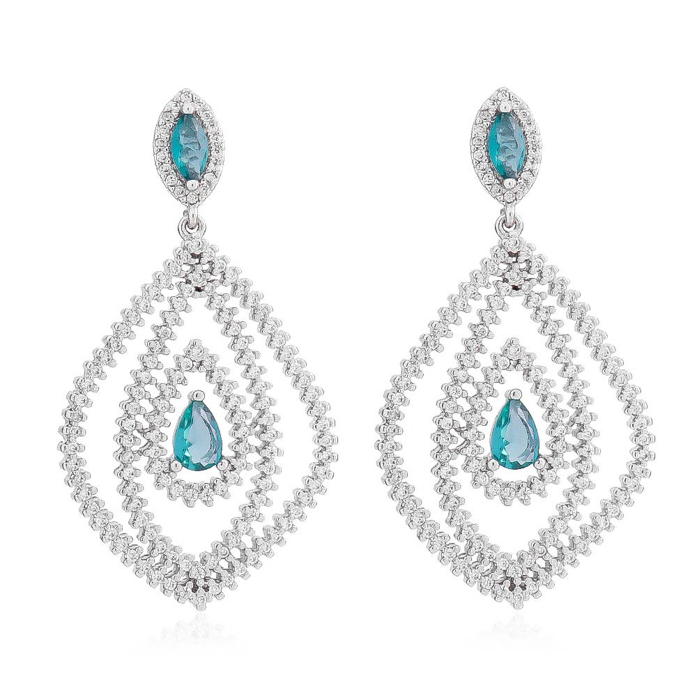 Brinco Gota com Cristal Azul e Zircônia Ródio Branco - Giro Semijoias