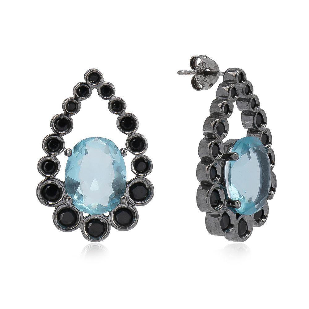 Brinco Gota com Cristal Azul e Zircônia Rodio Negro - Giro Semijoias