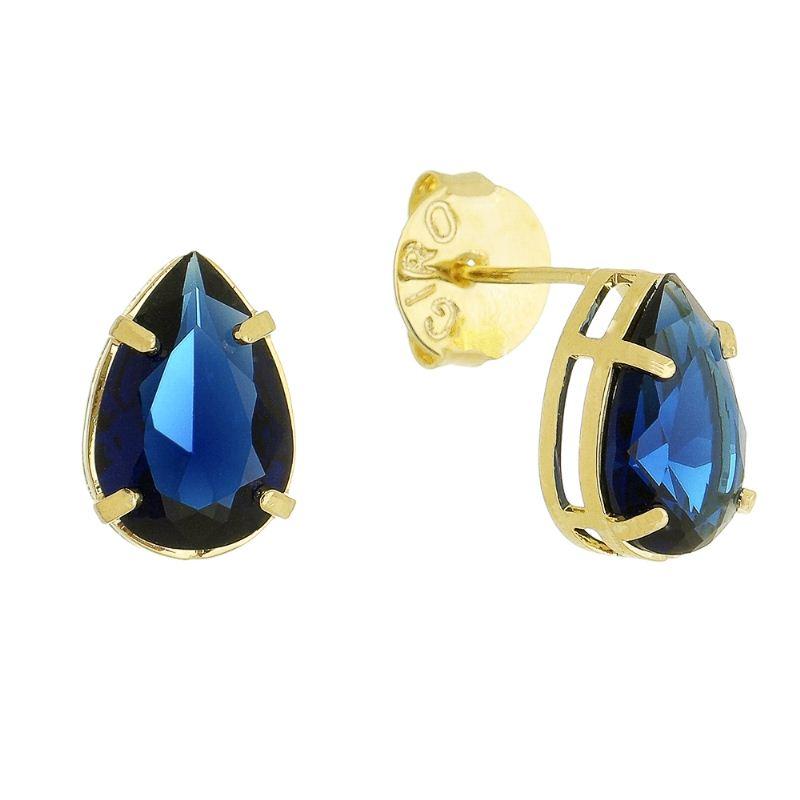 Brinco Gota com Cristal Azul M Folheado em Ouro 18k