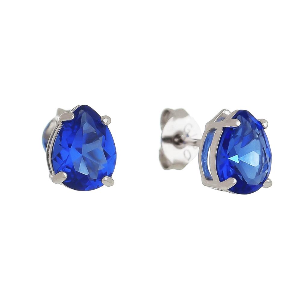 Brinco Gota com Cristal Azul P Folheado em Ródio Branco