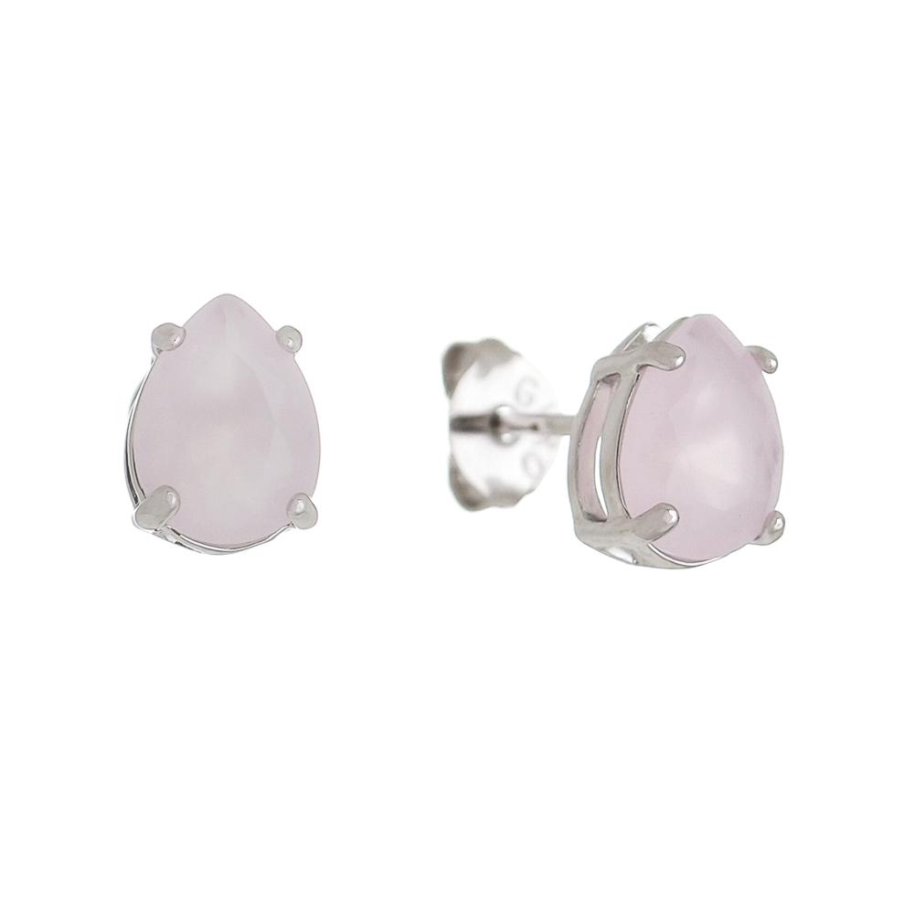 Brinco Gota com Cristal Rosa Bebê P Folheado em Ródio Branco