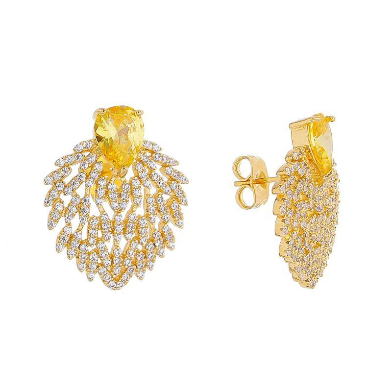 Brinco Gota com Pedra em Cristal Amarelo e Cacho Cravejado em Zircônias Folheado em Ouro 18k
