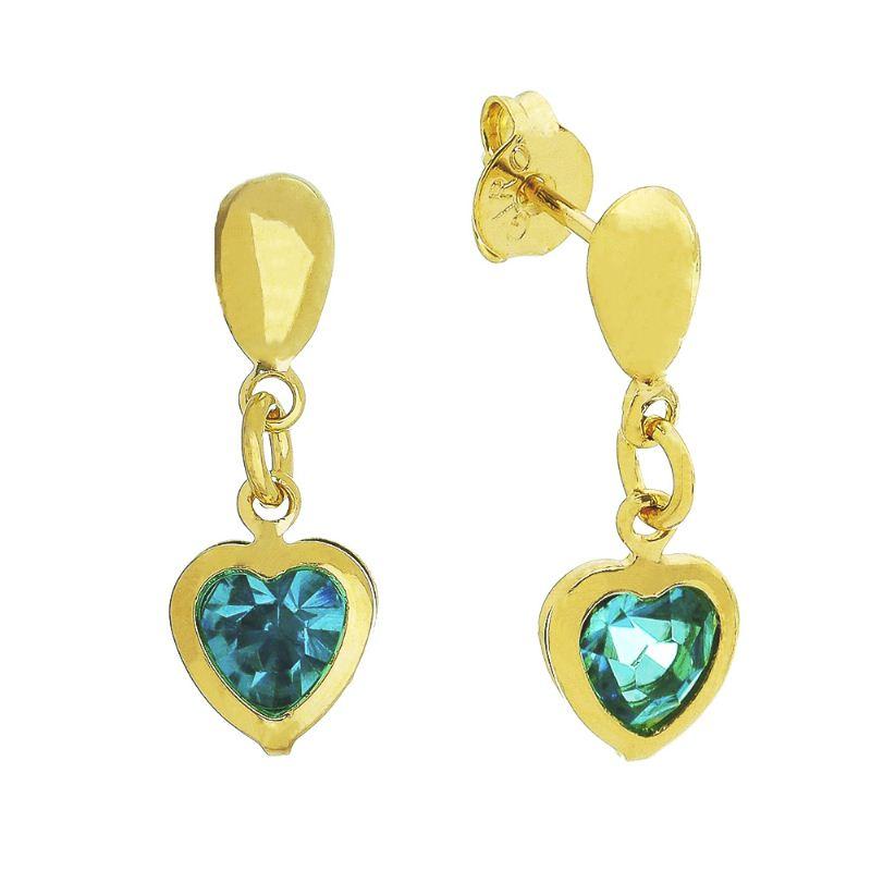 Brinco Gota com Pingente de Coração e Pedra em Zircônia Azul Folheado em Ouro 18k