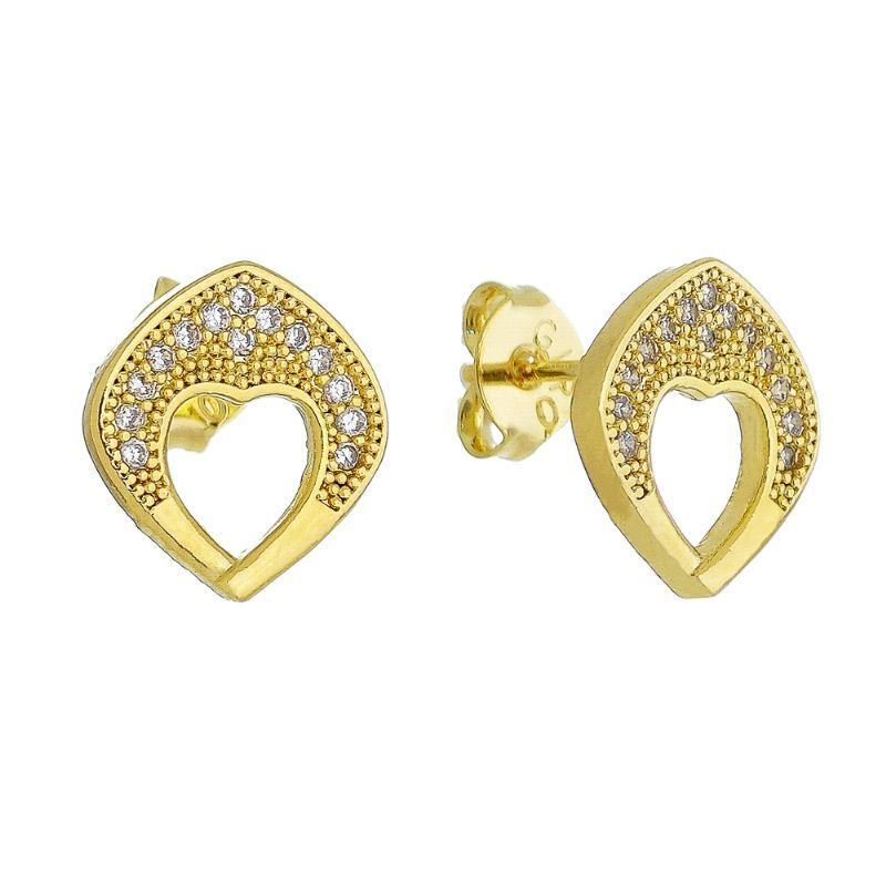 Brinco Gota Coração Cravejado em Zircônias Folheado em Ouro 18k