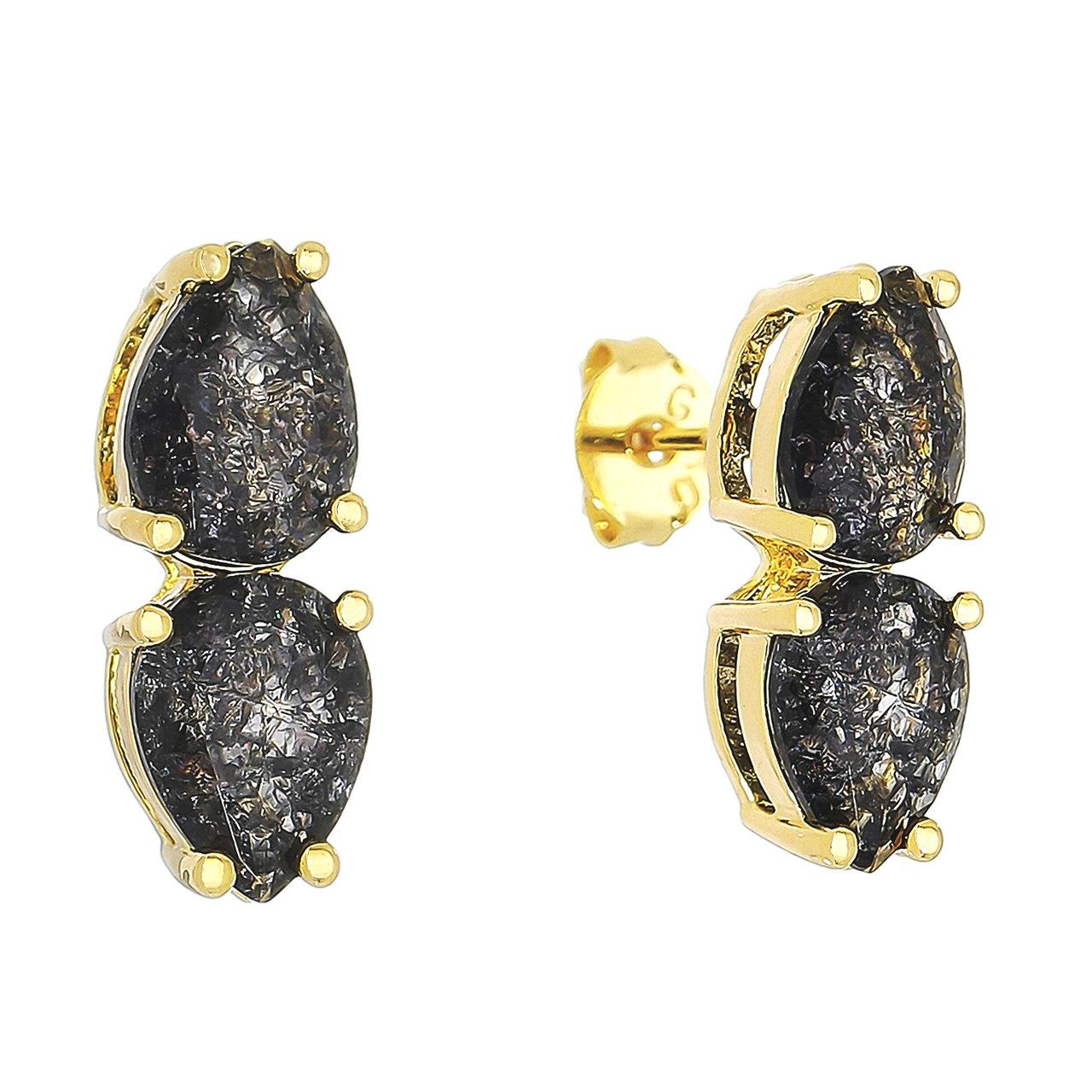 Brinco Gota Cravejado em Zircônias e Pedras Fusion Incolor e Preta Folheado em Ouro 18k