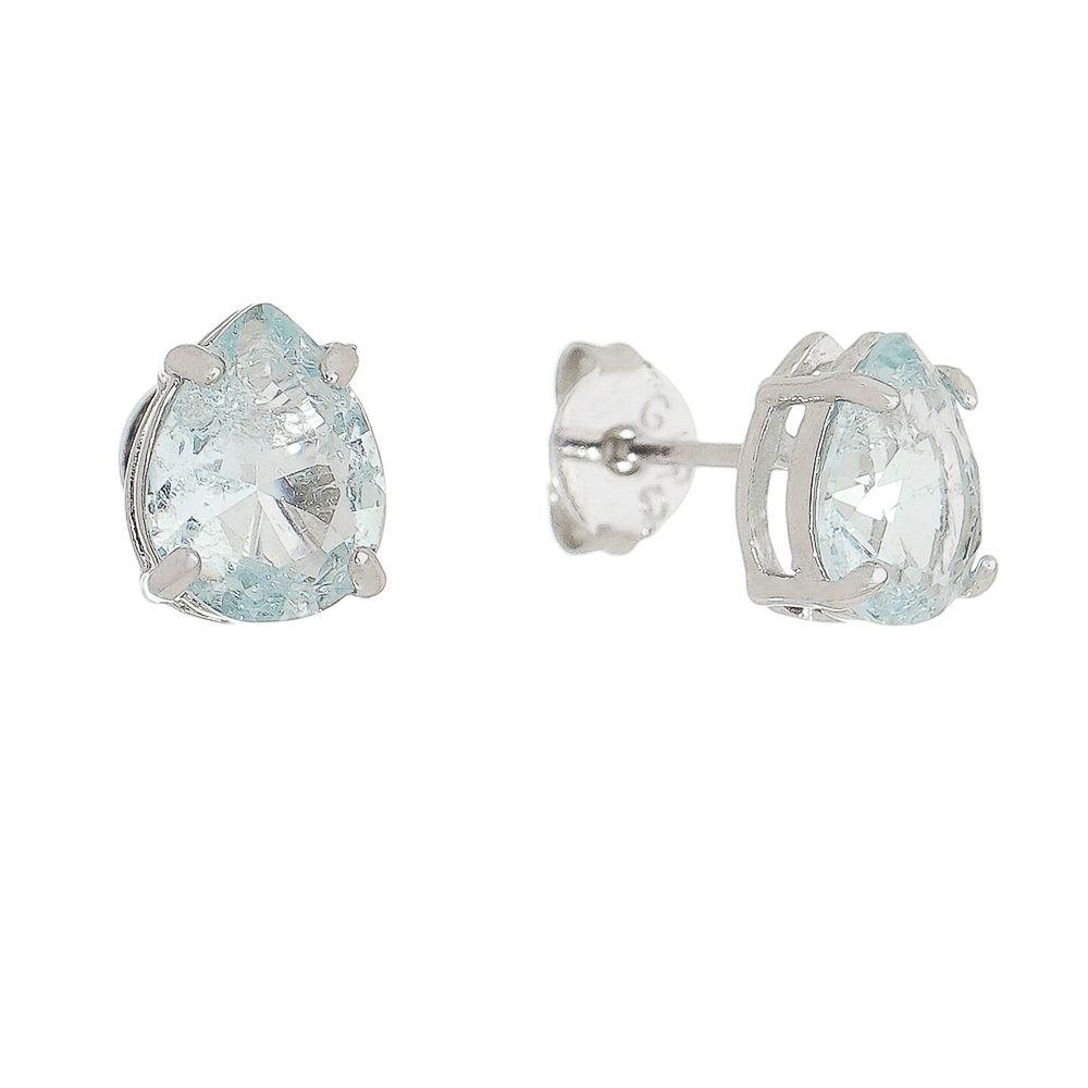 Brinco Gota Cristal Azul Claro Banho Ródio Branco - Giro Semijoias