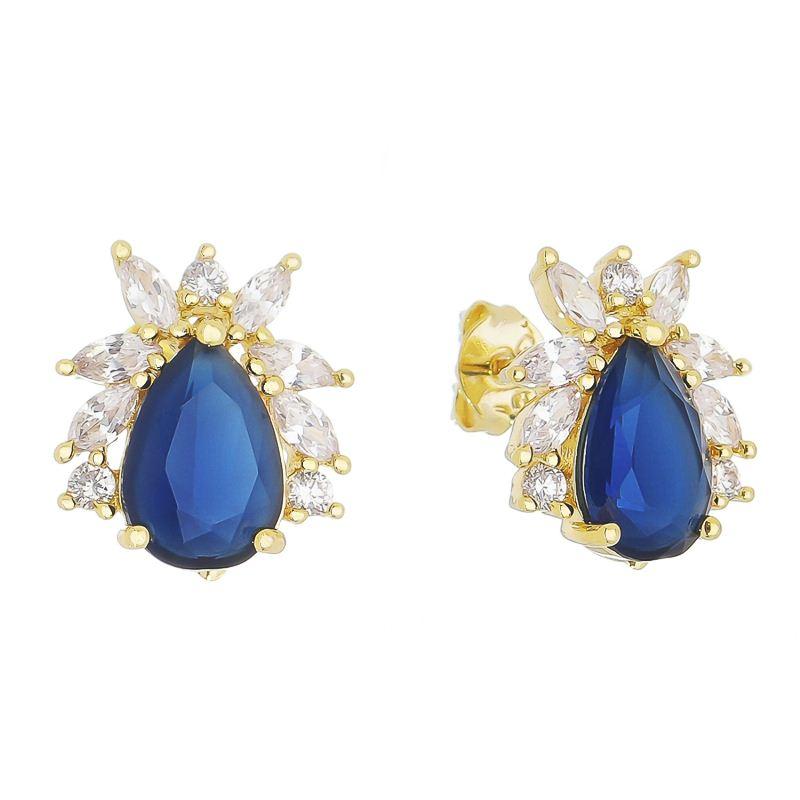 Brinco Gota Cristal Azul Navete Zircônia Glasenappia - Banho Ouro 18k