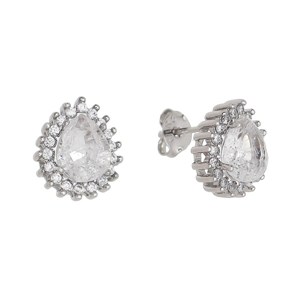 Brinco Gota Cristal Incolor Cravejado em Zircônias Folheado Ródio Branco - Giro Semijoias
