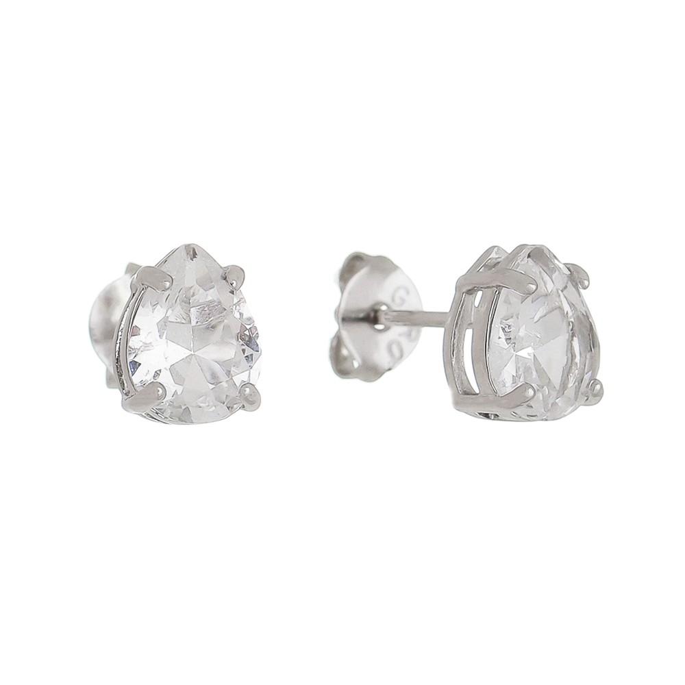 Brinco Gota Cristal Incolor Ródio Branco - Giro Semijoias