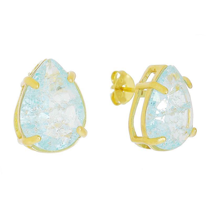 Brinco Gota Cristal M Azul Claro Ouro 18k