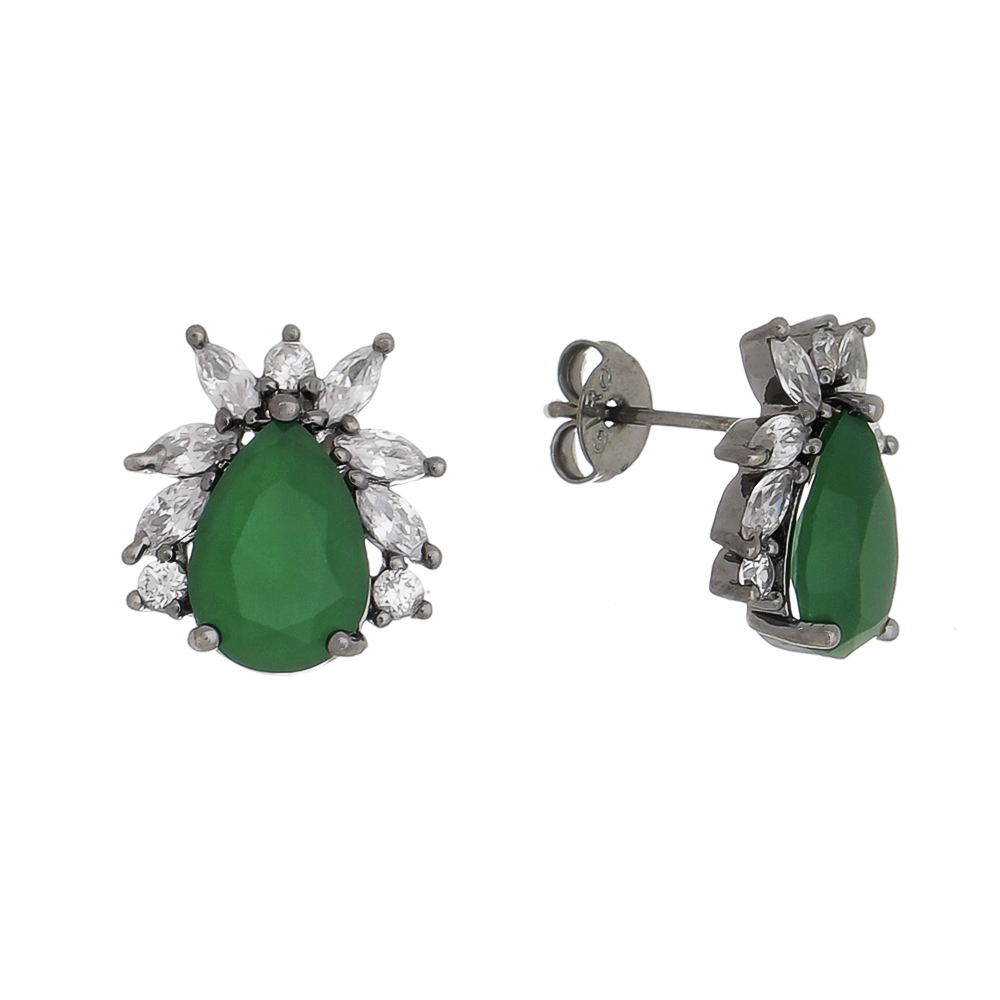 Brinco Gota Cristal Verde Keats- Rodio Negro