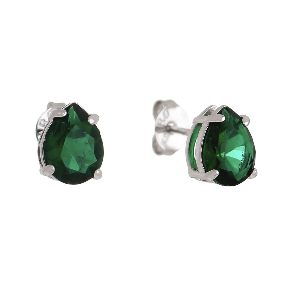 Brinco Gota Cristal Verde Ródio Branco
