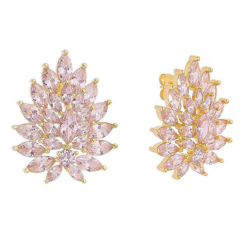 Brinco Gota de Cristal Rosa Ouro 18k- Giro Semijoias