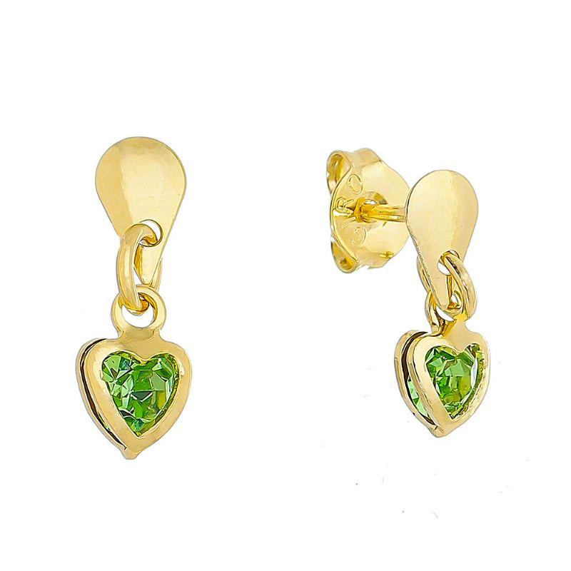 Brinco Gota e Pingente de Coração com Pedra de Zircônia Verde Folheado em Ouro 18k
