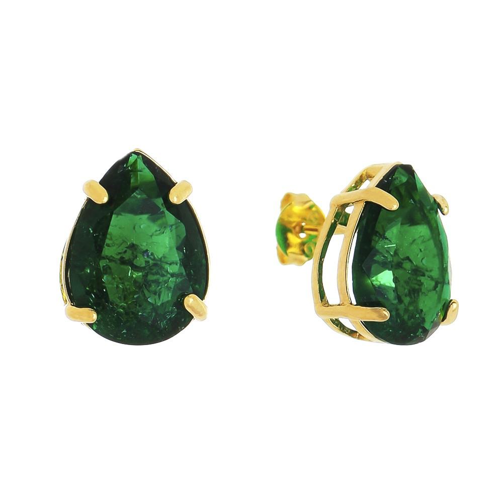 Brinco Gota em Pedra Fusion Verde Folheado em Ouro 18k - Giro Semijoias