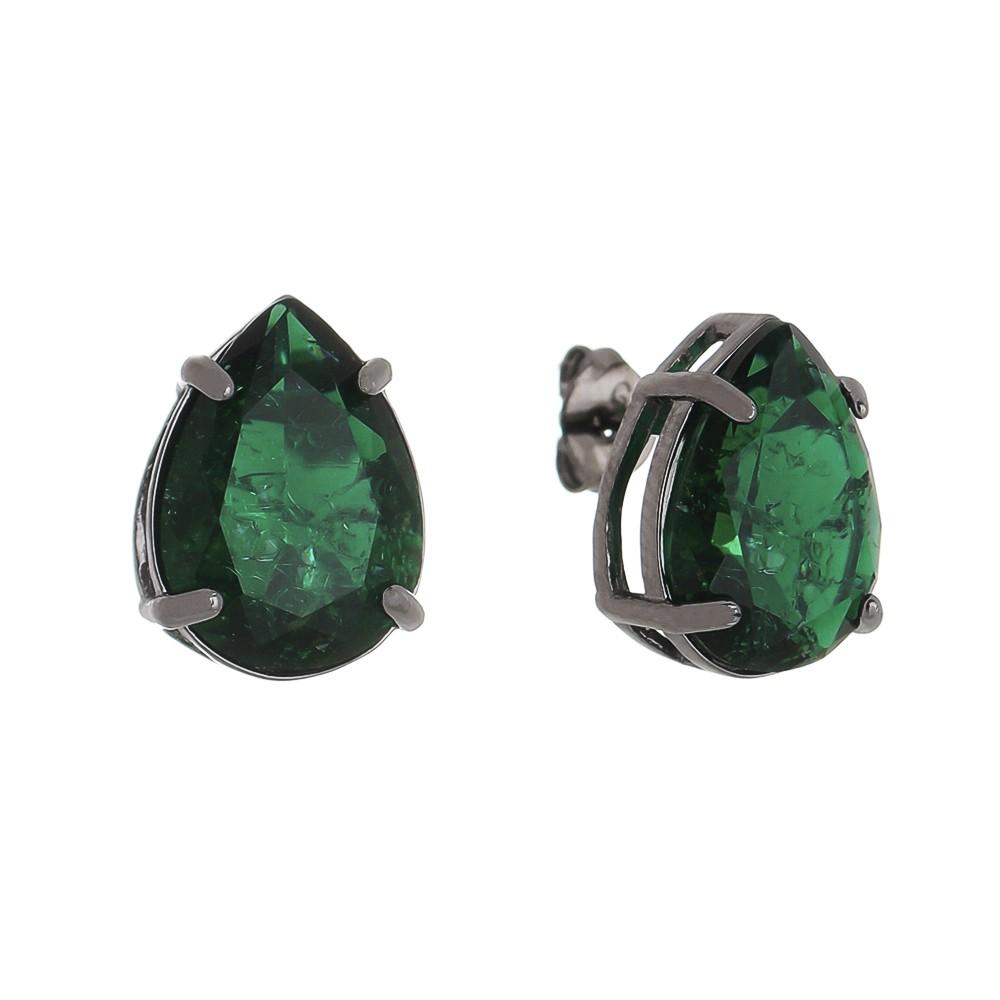 Brinco Gota em Pedra Fusion Verde P Folheado em Ródio Negro - Giro Semijoias