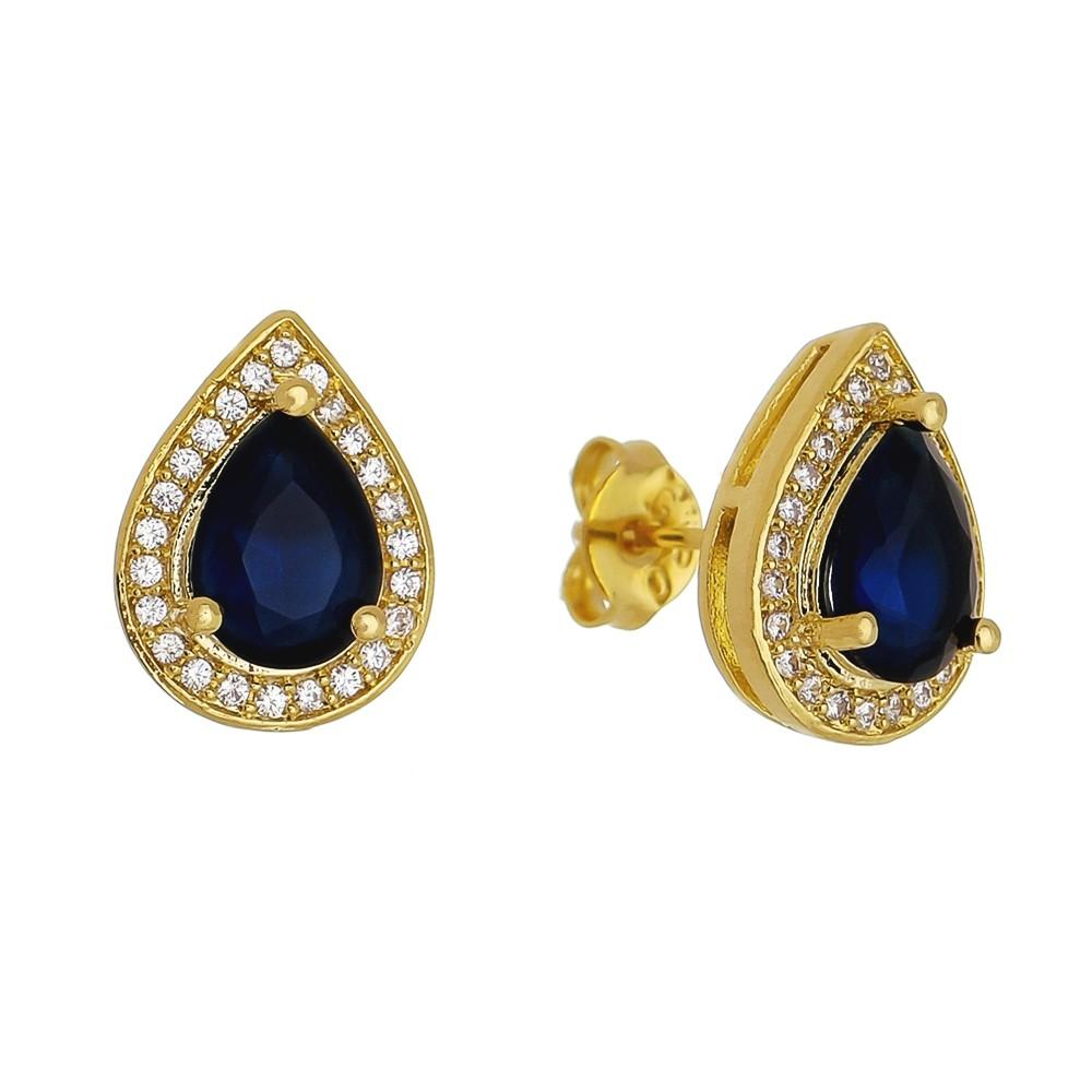 Brinco Gota Pedra Cristal Azul com Contorno em Zircônias Folheado em Ouro 18k - Giro Semijoias