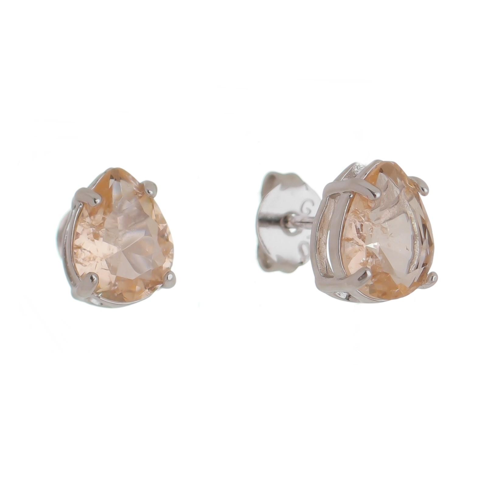Brinco Gota Pedra Cristal Salmão P Folheado em Ródio Branco - Giro Semijoias