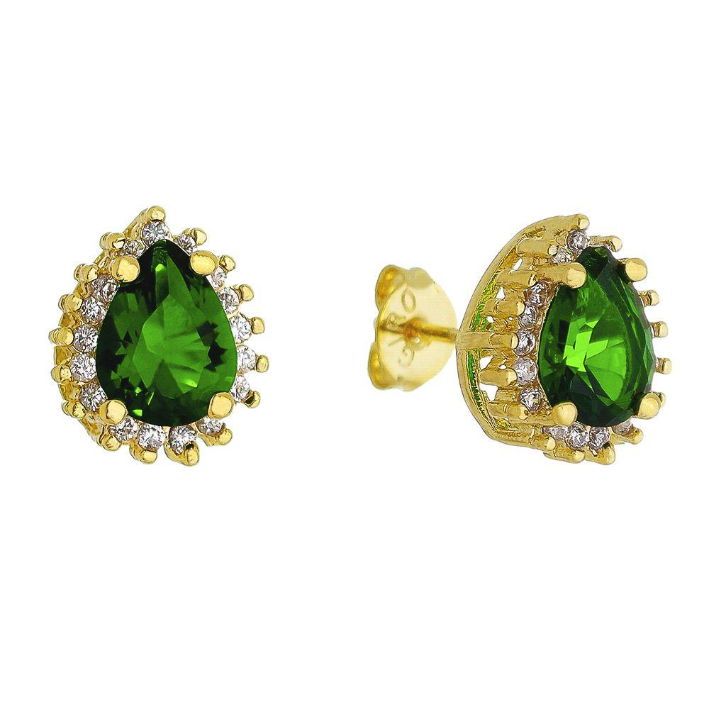 Brinco Gota Pedra Cristal Verde C/ Zircônia Tycho - Banho Ouro 18k