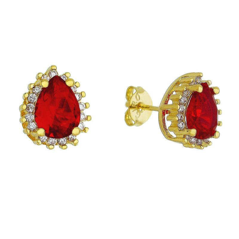 Brinco Gota Pedra Cristal Vermelho C/ Zircônia Tycho - Banho Ouro 18k