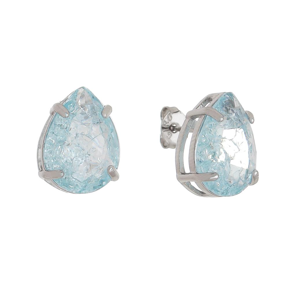 Brinco Gota Pedra Fusion Azul Claro G Folheado em Ródio Branco