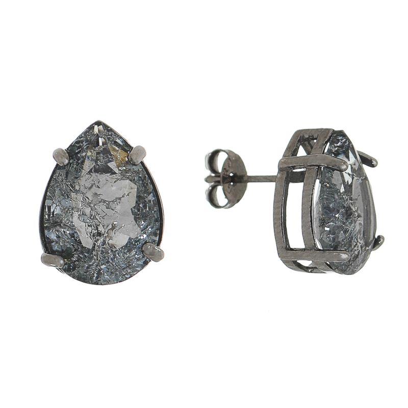 Brinco Gota Pedra Fusion Cinza Folheado em Ródio Negro