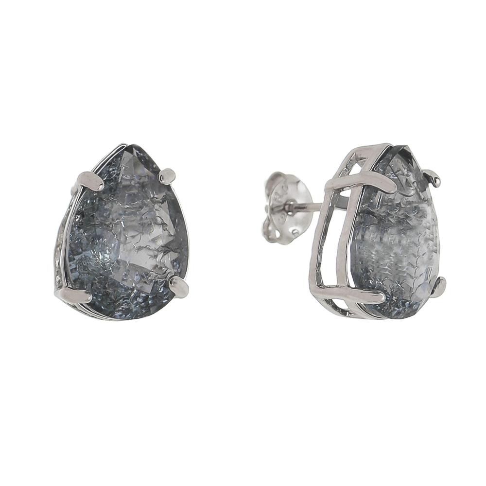 Brinco Gota Pedra Fusion Cinza G Folheado em Ródio Branco