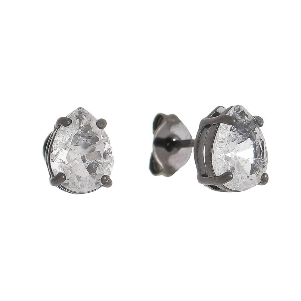 Brinco Gota Pedra Fusion Incolor P Folheado em Ródio Negro