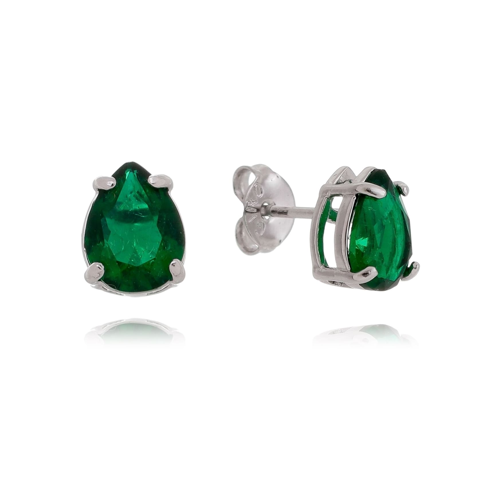 Brinco Gota Pedra Fusion Verde P Folheado em Ródio Branco - Giro Semijoias