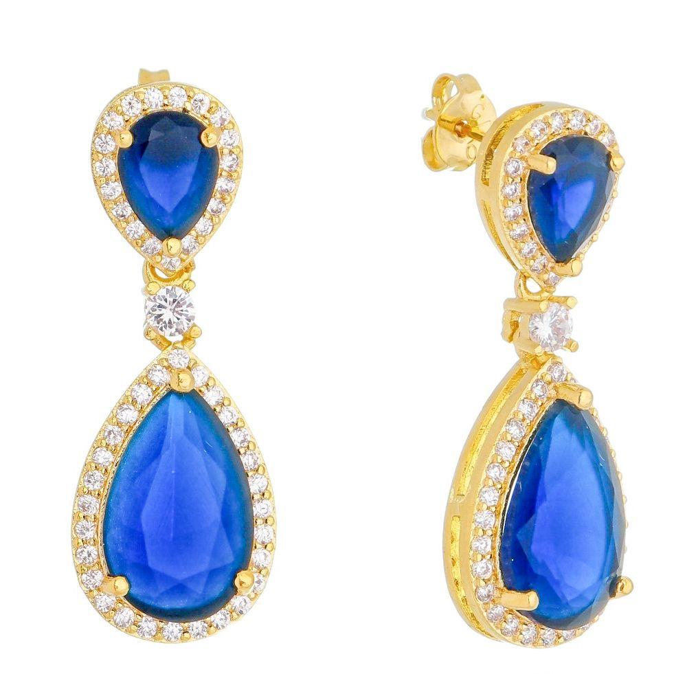 Brinco Gotas Cristal Azul com Contorno em Zircônias Folheado em Ouro 18k