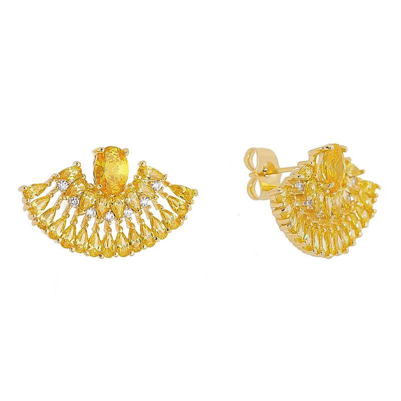 Brinco Leque Navetes em Zircônia e Pedra em Cristal Amarelo Folheado em Ouro 18k