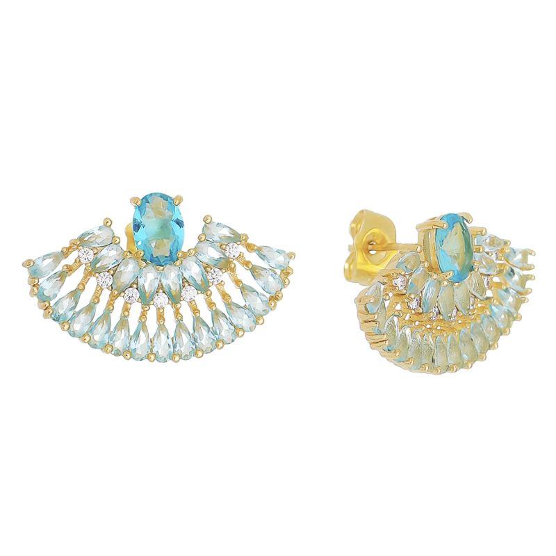 Brinco Leque Navetes em Zircônia e Pedra em Cristal Azul Folheado em Ouro 18k