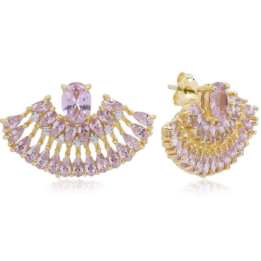 Brinco Leque Navetes em Zircônia e Pedra em Cristal Rosa Folheado em Ouro 18k