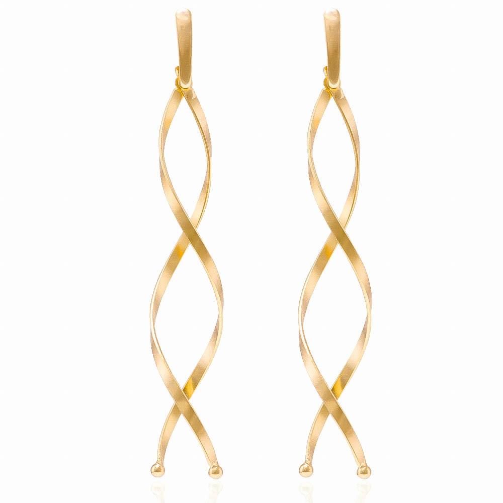 Brinco Longo Espiral Folheado em Ouro 18k - Giro Semijoias