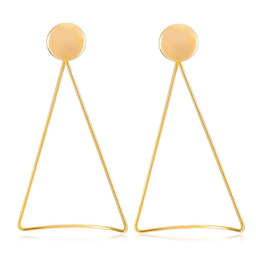 Brinco Longo Triângulo Curvo Folheado em Ouro 18k - Giro Semijoias